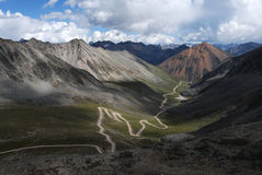 Road in Tibet. Hard  country road in Tibet Royalty Free Stock Photography