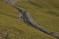 Road in  Tibet. A  hard  road in Lhoka Stock Image