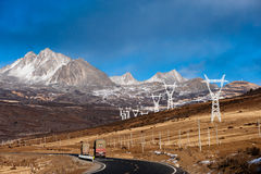 Road in Tibetan area of Sichuan, China. Snow mountain and road in Tibetan area of Sichuan, China Royalty Free Stock Photo