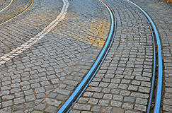 Road with tiled floor and tram lines Royalty Free Stock Image