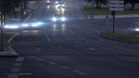 Road Time Lapse. Dusk / night time lapse of a busy intersection road stock video footage