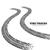 Road tire tracks on white background in perspective. Illustration Royalty Free Stock Photo