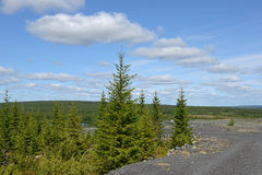 Road to an abandoned mine. Northern Finland royalty free stock photo