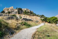 Road to the Acropolis of Lindos royalty free stock images