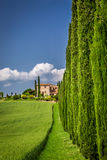 Road to agritourism in Tuscany with cypresses Royalty Free Stock Photos
