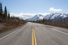Road to Alaska Range. Highway running by the Alaska Range Royalty Free Stock Image