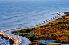 Road to Albenu along the sea. stock image