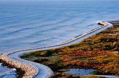 Road to Albenu along the sea. Stock Image