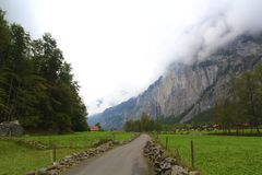 Road to the alps royalty free stock images