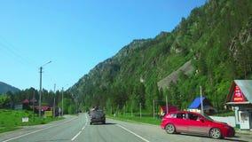 Road to Altai mountains stock video
