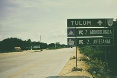 Road to ancient archaeological site of Tulum Stock Image