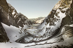 Road to Andina copper mine. In chilean Andes Stock Photo