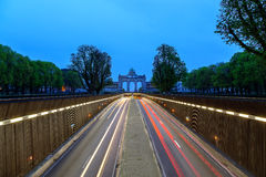 Road to Arch de Triumph Brussels. Road passing under the famous Arch De Triumph in Brussels Belgium Royalty Free Stock Images
