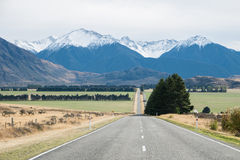 Road to Arthur's Pass in cloudy day, New Zealand Royalty Free Stock Photo