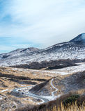 Road to Aso caldera in winter Stock Photography
