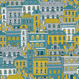 Road to Autumn - seamless pattern. Sweet romantic autumn city illustration stock illustration
