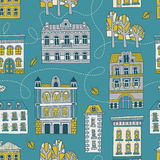 Road to Autumn - seamless pattern. Sweet romantic autumn city illustration royalty free illustration