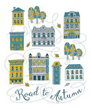Road to Autumn. Sweet romantic autumn city illustration stock illustration