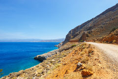 Road to the Balos Lagoon in Crete Royalty Free Stock Images