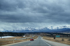 Road to Banff in winter Stock Image
