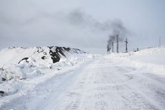 Road to Barentsburg - Russian Arctic city Royalty Free Stock Photography