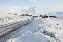 Road to Barentsburg - Russian Arctic city Royalty Free Stock Photo