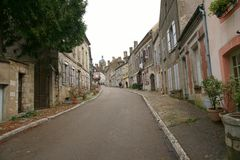 Road to Basilique Sainte-Marie-Madeleine de Vezelay in Vezelay, one of the most beautiful village in France. Vezelay, France-November, 19, 2016: Vezelay is one Royalty Free Stock Photos