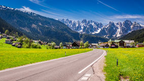 Road to beautiful village Gosau in Alps Stock Photos