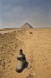 Road to the Bent Pyramid. Desert paths near the big Bent Pyramid of Snefru Stock Photos
