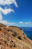 Road to the Blue Lagoon. View from Road to the Blue Lagoon in Crete Stock Photo