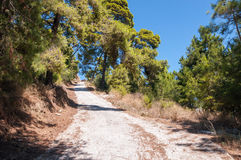 Road to Bohali Castle in Zakynthos city Royalty Free Stock Photos