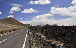 The road to the border of the lava fields. Stock Image