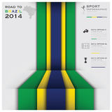 Road To Brazil 2014 Football Tournament. Background Design Template Stock Photography