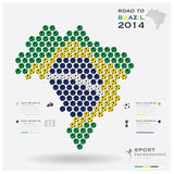 Road To Brazil 2014 Football Tournament Sport Infographic. Background Design Template Stock Photos