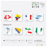 Road To Brazil 2014 Football Tournament Sport Infographic. Background Design Template Royalty Free Stock Image