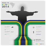 Road To Brazil 2014 Football Tournament Sport Infographic. Design Template Stock Photos