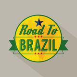 Road to Brazil Label Stock Photo