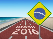 Road to Brazil olympic games in Rio 2016 Royalty Free Stock Images