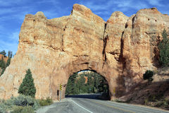 Road to Bryce Canyon through tunnel in the rock Stock Image