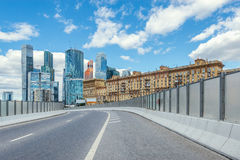 Road to the business city center. Stock Photos