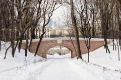 Road to business and finance district Moscow city from park. Path through empty calm winter park Royalty Free Stock Image