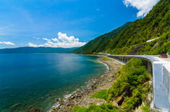 Road to Cagayan Valley. Spectacular causeway on the road from Laoag to Cagayan Valley, Northern Luzon Stock Image