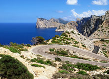 Road to Cap Fomentor Mallorca and landscape surrounding.  Stock Images