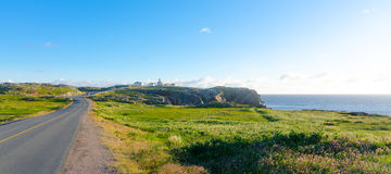 Road to Cape Bona Vista lighthouse station, Newfoundland, Royalty Free Stock Photos