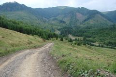 Road to the Carpathian mountain range Borzhava. Stock Photo