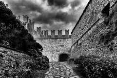 Road to the castle in Vigoleno Royalty Free Stock Images