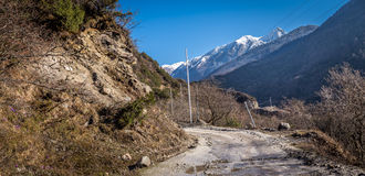 Road to Chopta Valley In Northern Sikkim, India Stock Photos