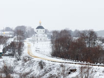 Road to the Church. Church, road, Church, winter and Church in fog, village, village Church, Cathedral, Christianity, Orthodox Church,Klirovye sheets Ardatovsky stock photography