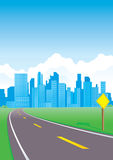 Road to the city. With sign Royalty Free Illustration