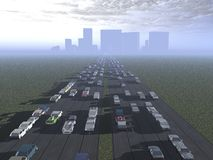 The road to the city. Traffic going in and out of the city royalty free illustration